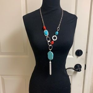 Turquoise and Red silver necklace